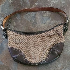 Coach** signature brown leather/tan canvas bag
